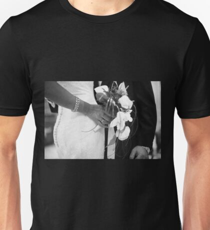 Bride and groom holding black and white wedding photograph Unisex T-Shirt
