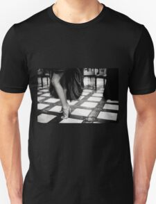 Sexy legs of female guest in party black and white wedding photograph Unisex T-Shirt