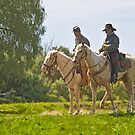 Stylized photo of American Civil War reenactment soldiers on horseback overlooking battle field in Vista, CA. by NaturaLight