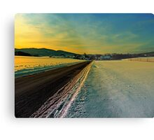 Winter road into dusk | landscape photography Metal Print