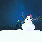 Snowman - Night by Tama Blough