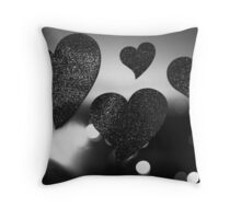 Four love hearts in silhouette night bokeh dof photo Throw Pillow