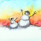 Snowmen at Sunset by Tama Blough
