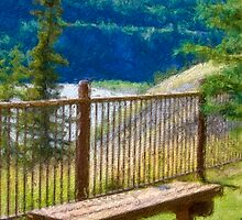 Stylized photo of fence, benches,  and trees along Chena River in Fairbanks, AK. by NaturaLight
