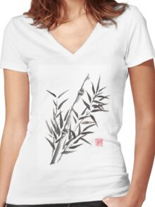 No doubt bamboo sumi-e painting Women's Fitted V-Neck T-Shirt