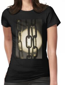 Steel chain links silhouette close-up at night Womens Fitted T-Shirt