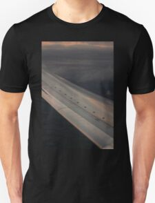 Airplane flying in sky wing in flight photograph T-Shirt