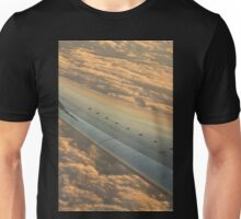 Airplane flying in sky wing in flight photo Unisex T-Shirt