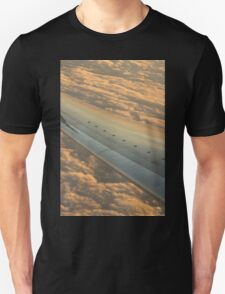 Airplane flying in sky wing in flight photo T-Shirt