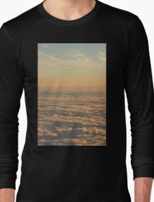 Sky with clouds in blue and pink sunset evening colors photo Long Sleeve T-Shirt