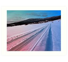 Path up to the mountains in winter time | landscape photography Art Print