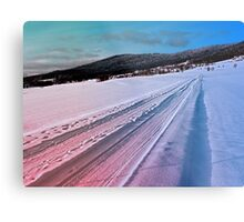 Path up to the mountains in winter time | landscape photography Metal Print
