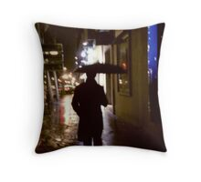 Man walking in street at night in rain color 35mm analogue photojournalism portrait photograph Throw Pillow
