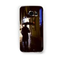 Man walking in street at night in rain color 35mm analogue photojournalism portrait photograph Samsung Galaxy Case/Skin