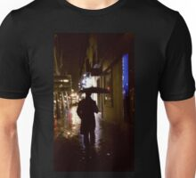 Man walking in street at night in rain color 35mm analogue photojournalism portrait photograph Unisex T-Shirt