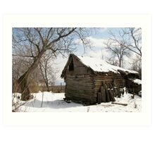 Rustic Winter Scene in Barda Romania - all products Art Print