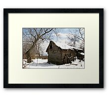 Rustic Winter Scene in Barda Romania Framed Print
