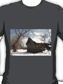 Rustic Winter Scene in Barda Romania - all products T-Shirt