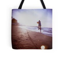 Boy running on beach square Lubitel lomo lomographic lomography medium format  color film analogue photo Tote Bag