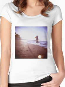 Boy running on beach square Lubitel lomo lomographic lomography medium format  color film analogue photo Women's Fitted Scoop T-Shirt