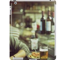 Man tapas and glass of beer in Spanish bar square Hasselblad medium format  c41 color film analogue photo iPad Case/Skin