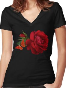 rose red Women's Fitted V-Neck T-Shirt