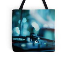 House music dj deejay turntable in nightclub party in Ibiza Spain blue digital photograph Tote Bag