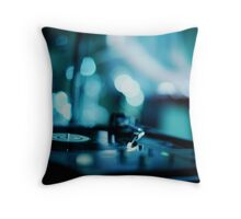 House music dj deejay turntable in nightclub party in Ibiza Spain blue digital photograph Throw Pillow