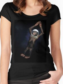 Monkey in space. Women's Fitted Scoop T-Shirt