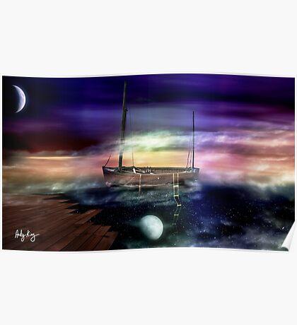 Sailing through the Night Sky Poster