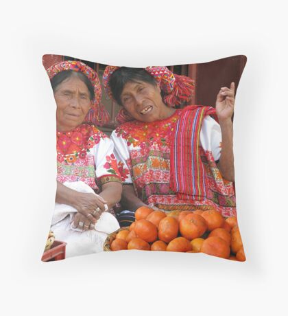 COLOR COORDINATED ORANGE SELLERS - GUATEMALA Throw Pillow