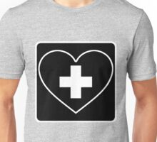 Get Well Soon, Sexy Nurse, Black, Heart, First Aid, Medical Unisex T-Shirt