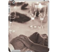 Bride and groom holding hands in marriage banquet black and white film silver gelatin fine art analog wedding photo iPad Case/Skin