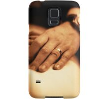Bride and groom holding hands sepia black and white film silver gelatin fine art analog wedding photo Samsung Galaxy Case/Skin