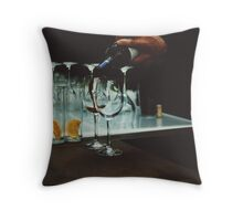 Drinks bar in party xpro cross processed c41 slide film analog photograph Throw Pillow