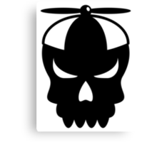 Funny skull with propeller Cap Canvas Print