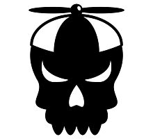Funny skull with propeller Cap Photographic Print