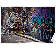 Alley life - Graffiti  Melbourne Poster
