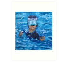chris in pool no wall Art Print