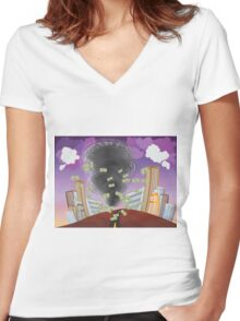 Powerful Tornado Women's Fitted V-Neck T-Shirt