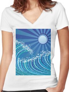 Sea waves Women's Fitted V-Neck T-Shirt