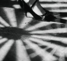 Feet of girl dancing in nightclub lights black and white silver gelatin 35mm film analog photograph Sticker