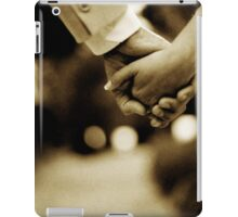 Bride and groom holding hands sepia toned black and white silver gelatin 35mm film analog wedding photograph iPad Case/Skin