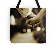 Bride and groom holding hands sepia toned black and white silver gelatin 35mm film analog wedding photograph Tote Bag
