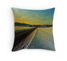 Winter road into dusk | landscape photography Throw Pillow