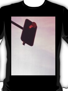 Red traffic stop light signal and sky still life blue square Hasselblad medium format film analog photograph T-Shirt