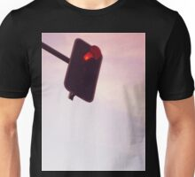 Red traffic stop light signal and sky still life blue square Hasselblad medium format film analog photograph Unisex T-Shirt
