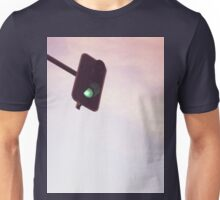Green traffic go light signal and sky still life blue square Hasselblad medium format film analog photograph Unisex T-Shirt