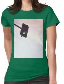 Green traffic go light signal and sky still life blue square Hasselblad medium format film analog photograph Womens Fitted T-Shirt
