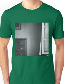 Country house window open summer afternoon Tuscany Italy black and white square silver gelatin film analog photo Unisex T-Shirt
